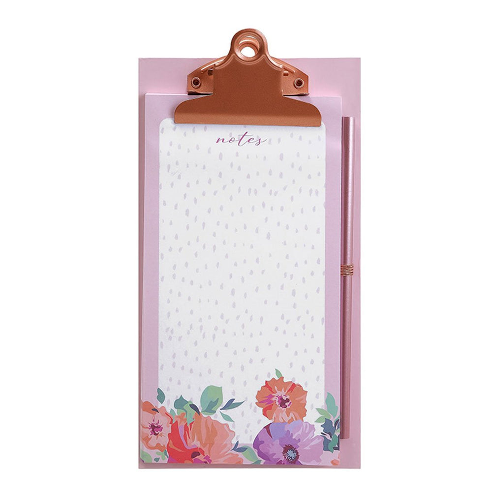 MINISO Flower Series - Clipboard with Pen in Pink