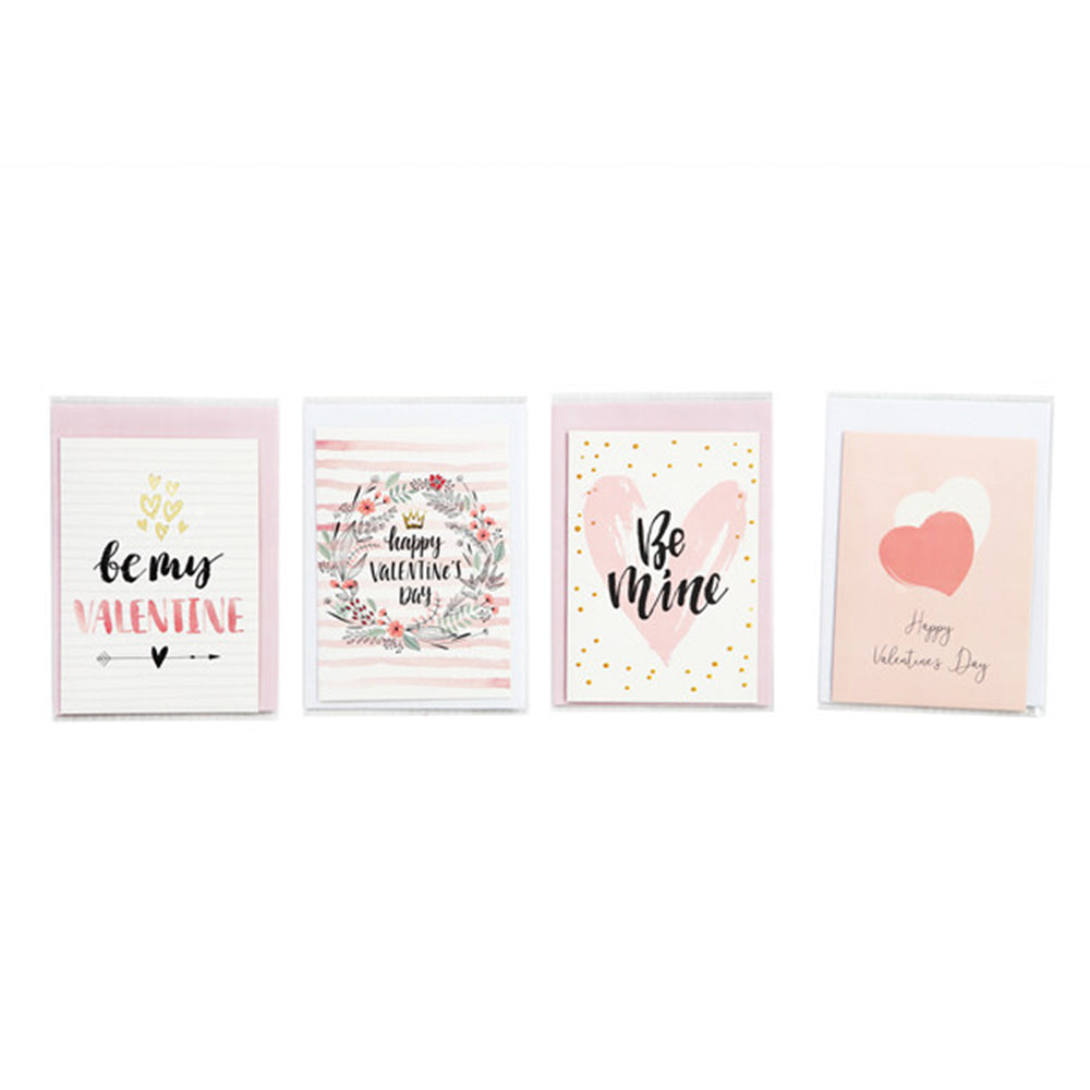 MINISO Valentine's Day Cards, Set of 4 (Pink)