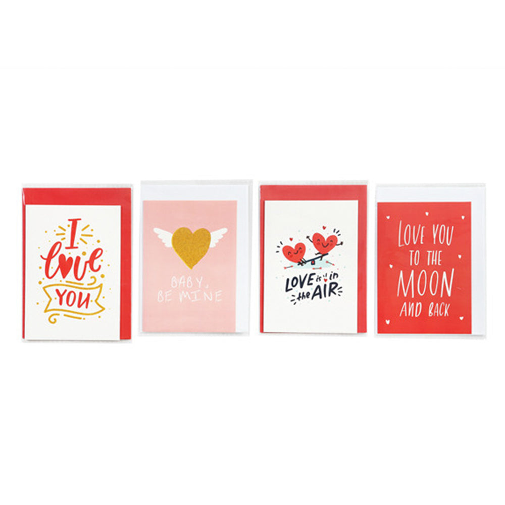MINISO Valentine's Day Cards, Set of 4 (Red)