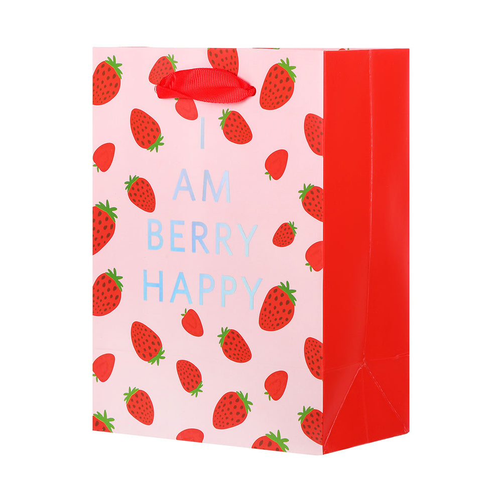 MINISO Fruit Series - Strawberry Pattern Paper Gift Bag, Small