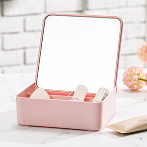 Miniso Mirror with Container Beauty Mirror Table Mirror Portable Makeup Mirror Pink