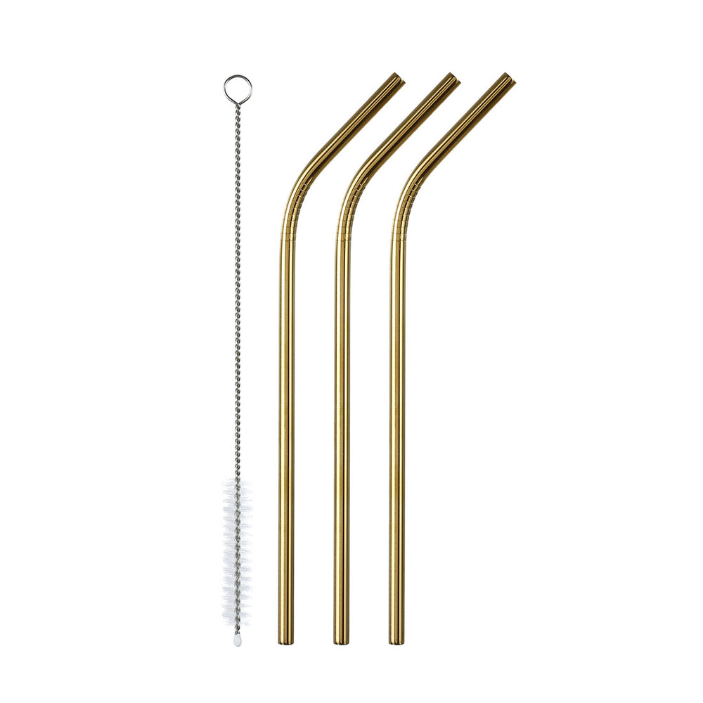 MINISO Reuseable Stainless Steel Straws Set of 3 with Cleaning Brush, Random Colour