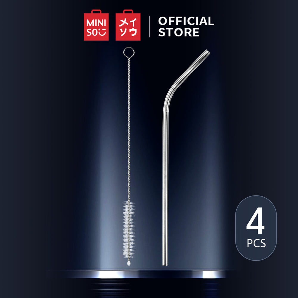 MINISO Reuseable Stainless Steel Straws Set of 4 with Cleaning Brush, Random Colour