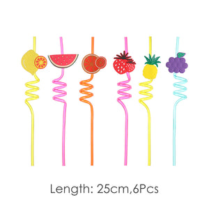 MINISO Fruit Series - Reusable Ice Rotating Straw, 6 Pcs