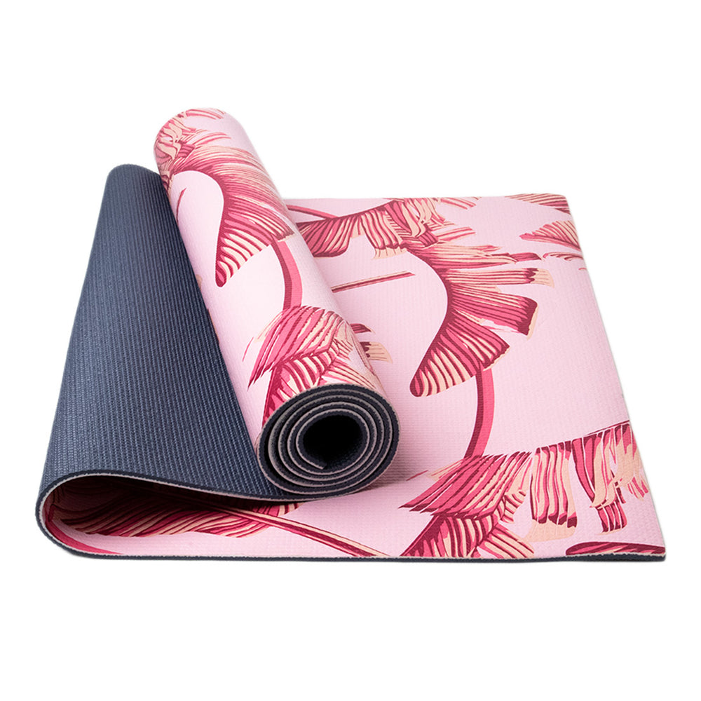 MINISO Thick Non-Slip Yoga Mat, Pink Leaves