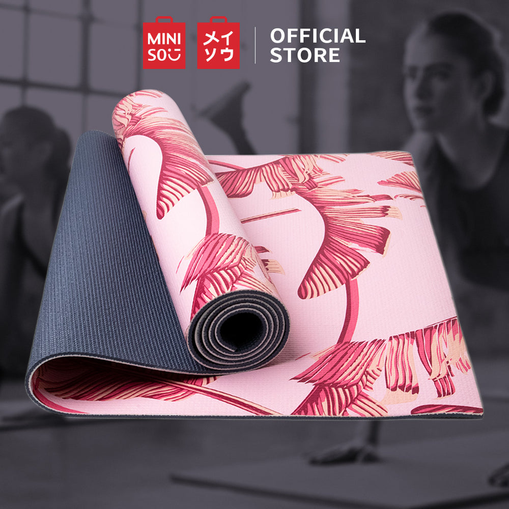 Load image into Gallery viewer, MINISO Thick Non-Slip Yoga Mat, Pink Leaves