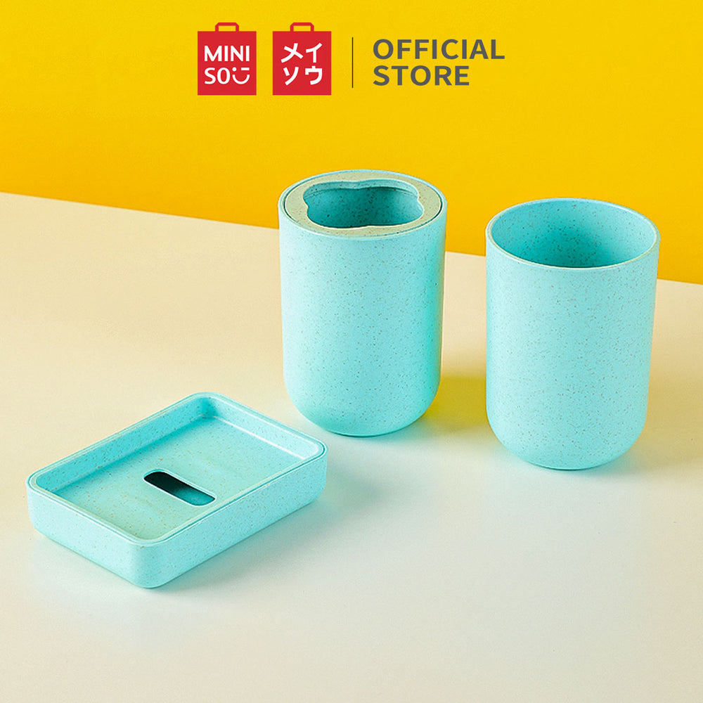 MINISO Bathroom Set, Toothbrush Holder + Soap Dish + Cup Set