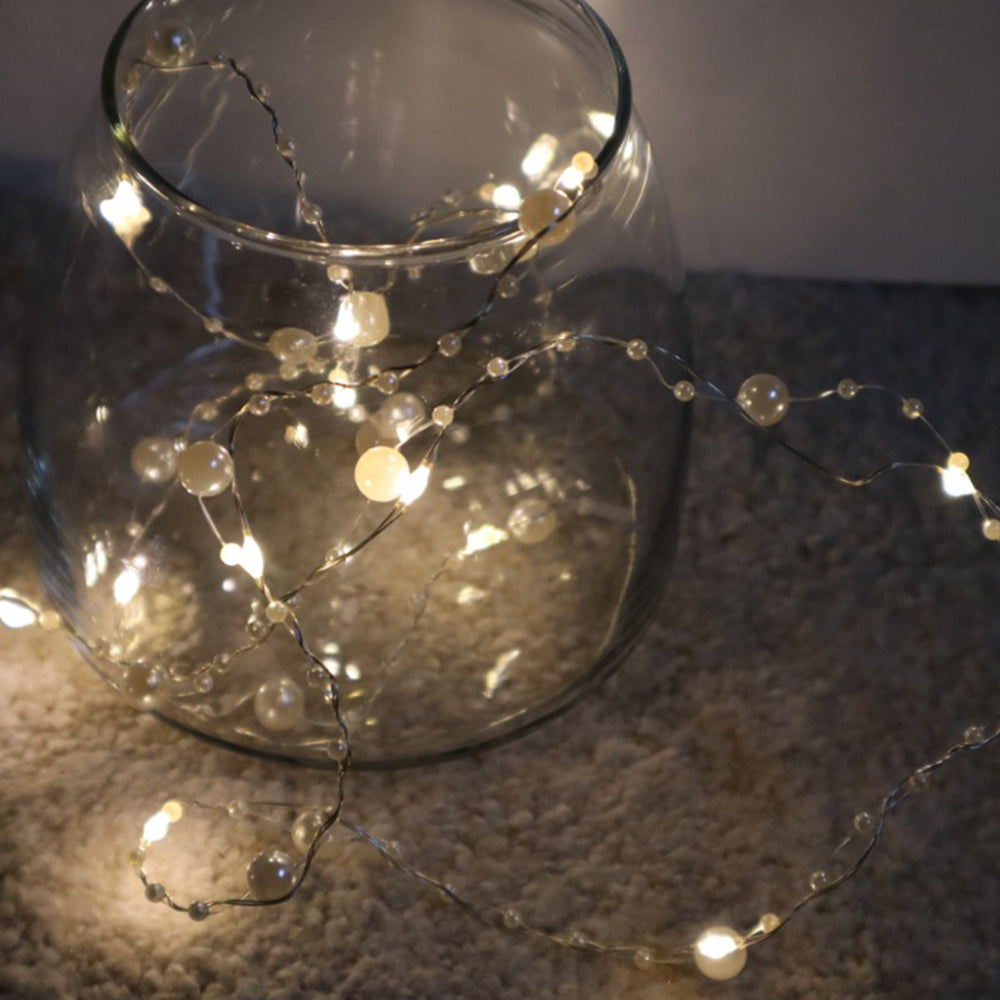 MINISO Pearl String Lights, 6.56 ft LED Battery Powered