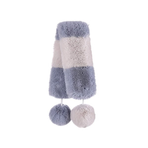 MINISO x Winter Series - Women's Winter Plush Striped Scarf, Random Color