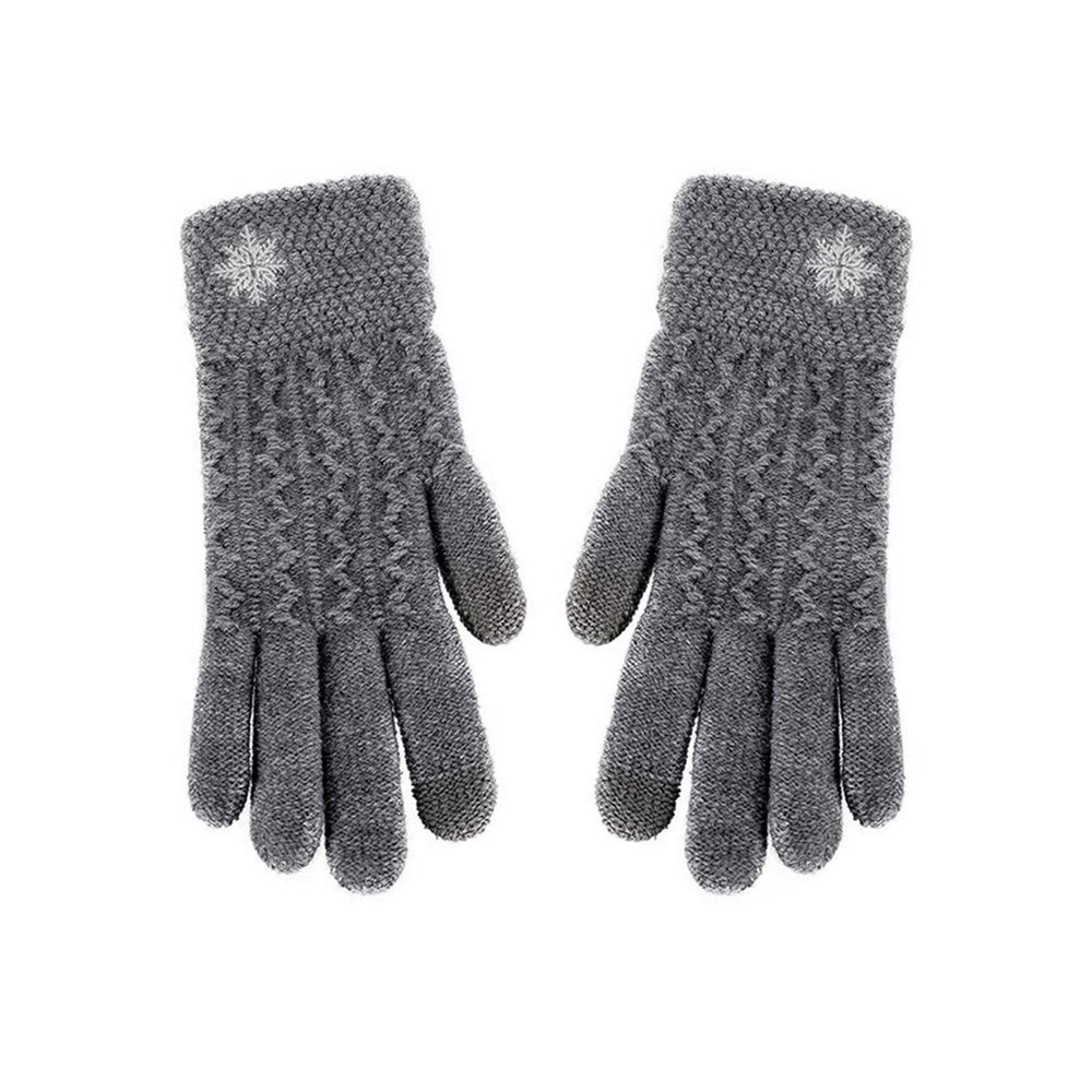 MINISO x Winter Series - Women's Knitted Non-Slip Snowflake Embroidered Gloves
