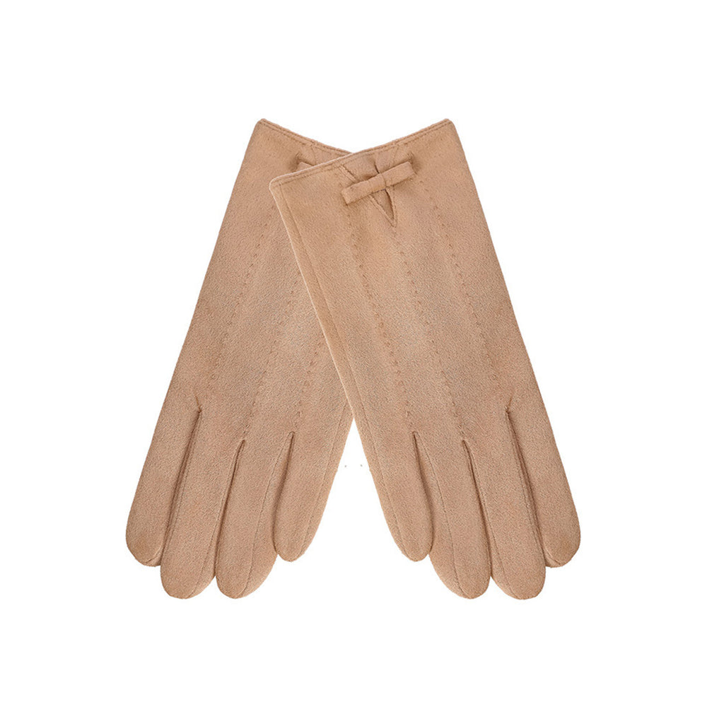 MINISO x Winter Series - Women's Suede Bow Tie Gloves, Random Color