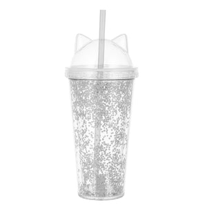 MINISO Cat Ears Glittery Tumbler with Straw 420ml (White)