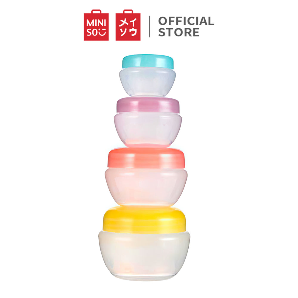 MINISO Travel Plastic Multi Purpose Refillable Jar, Set of 4