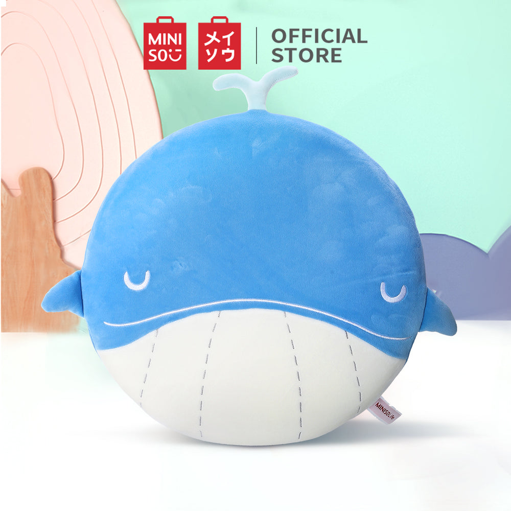 MINISO x Ocean Series - Stuffed Animal Whale Flat Plush Toy, Light Blue