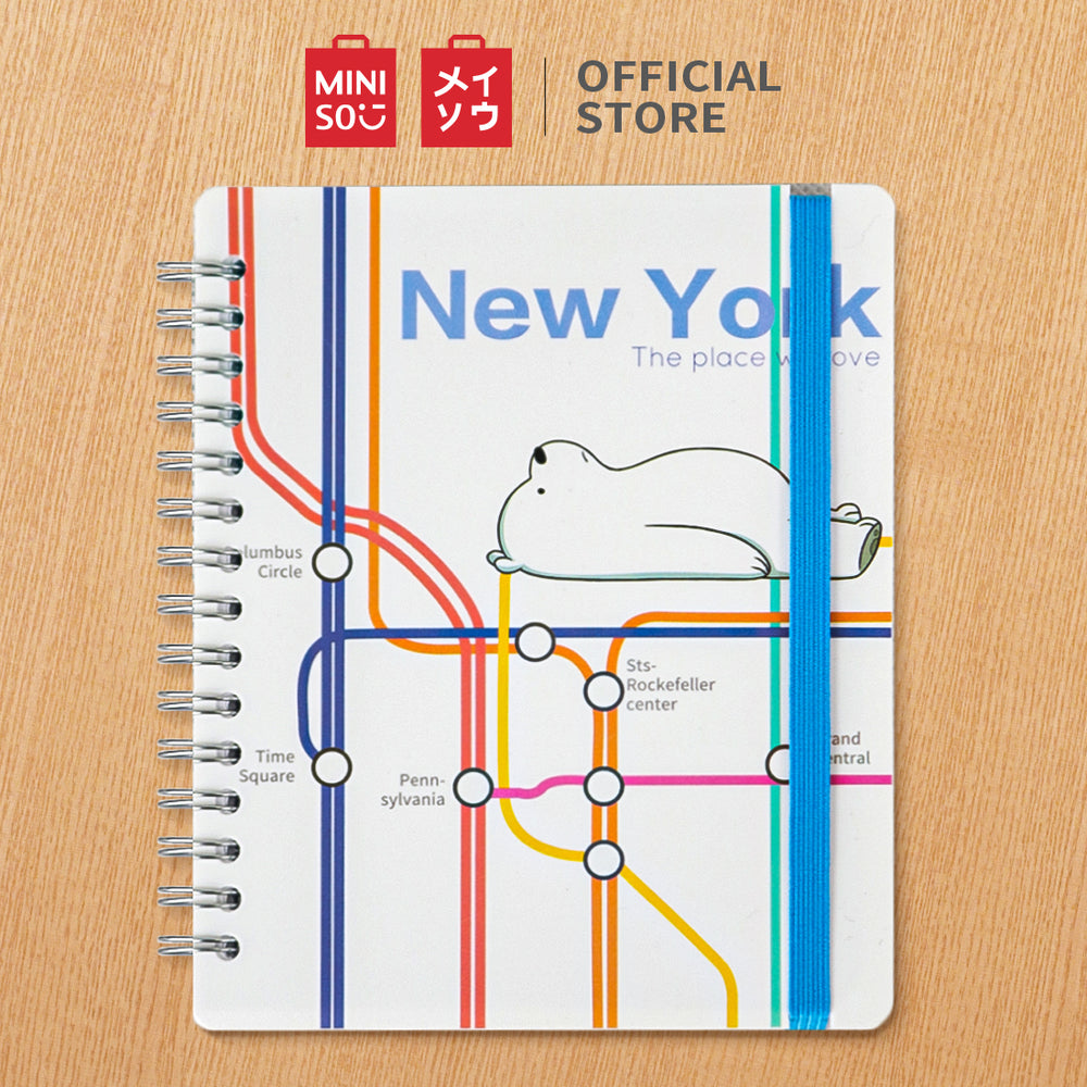 MINISO x We Bare Bears - New York Subway Design Wirebound Diary Journal (Ice Bear)