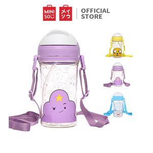 MINISO x Adventure Time - Plastic Water Bottle with Straw BPA-free, Purple
