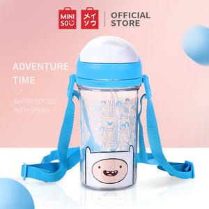 MINISO x Adventure Time - Plastic Water Bottle with Straw BPA-free, Blue