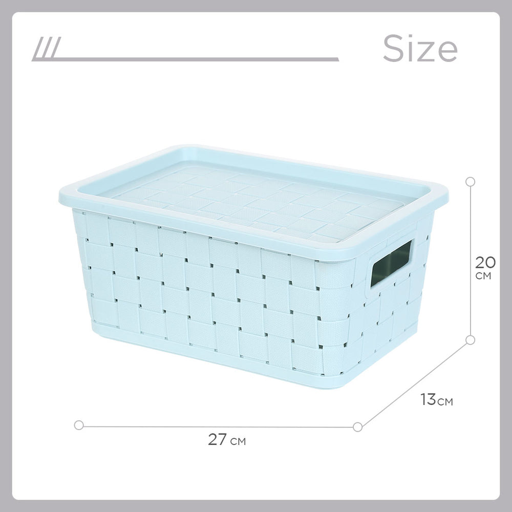 MINISO Small Plastic Storage Bucket With Lid (Blue)