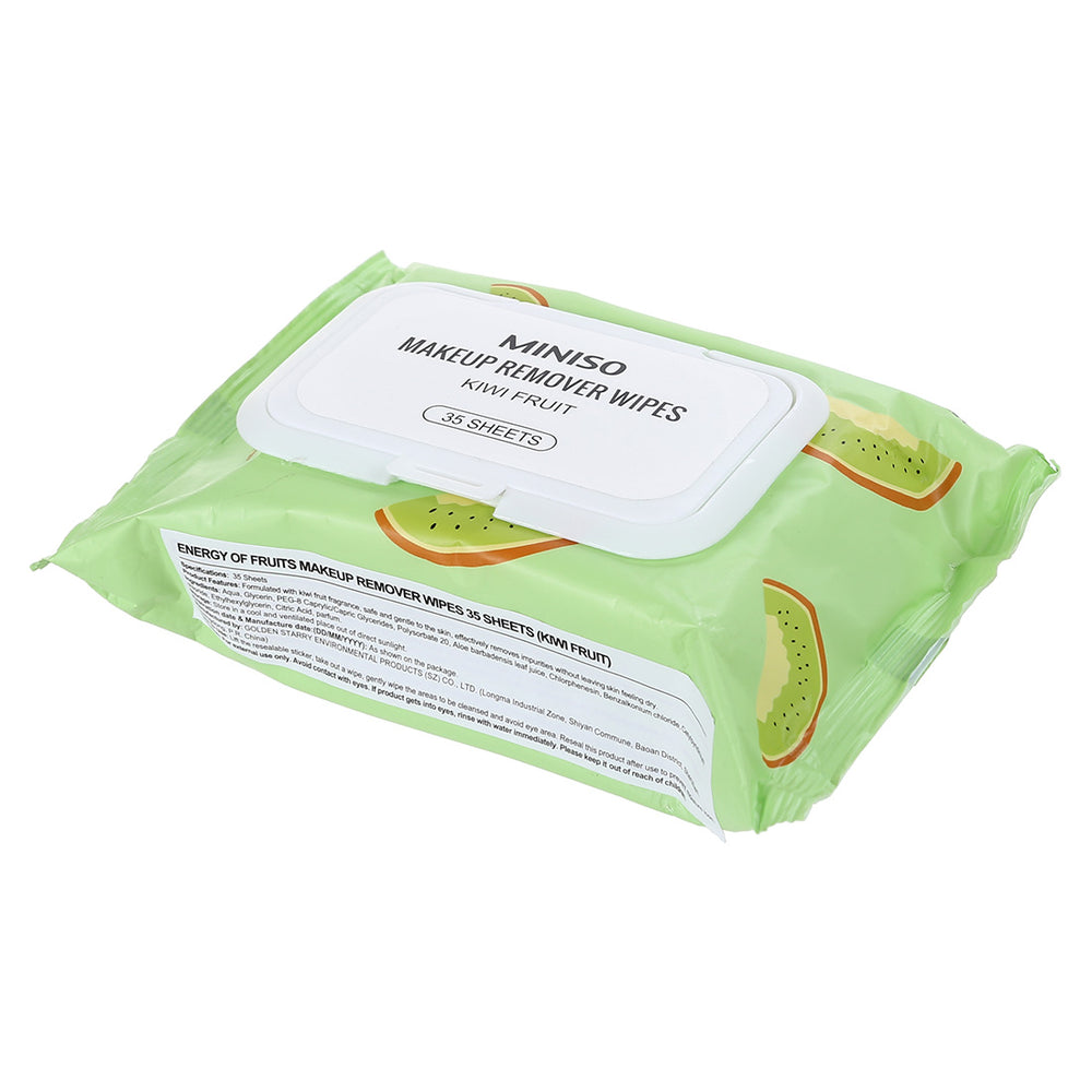 Miniso Energy of Fruits - Makeup Remover Wipes 35 Sheets (Kiwi)