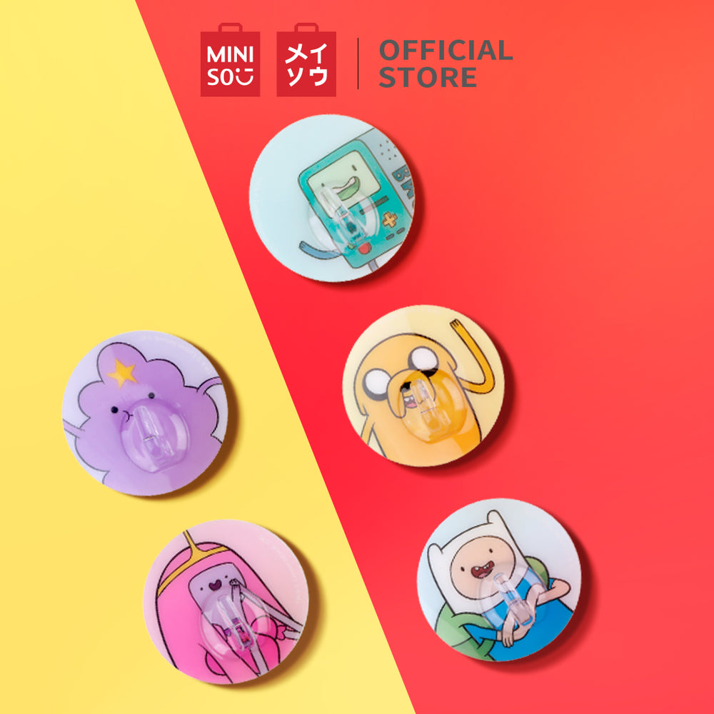 MINISO x Adventure Time - Suction Silicone Hooks, Pack of 5 - Multi Characters