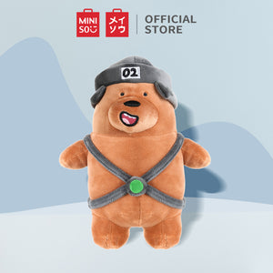 "Load image into Gallery viewer, MINISO We Bare Bears Standing Plush 10"" Toy with Hat Grizzly"