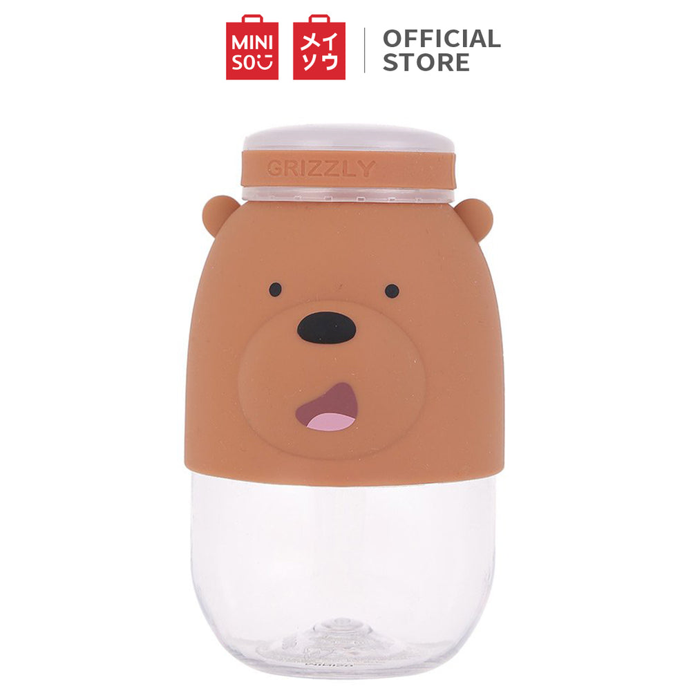 MINISO We Bare Bears Grizzly - Tritan BPA Free Water Bottle 380ml, Grey