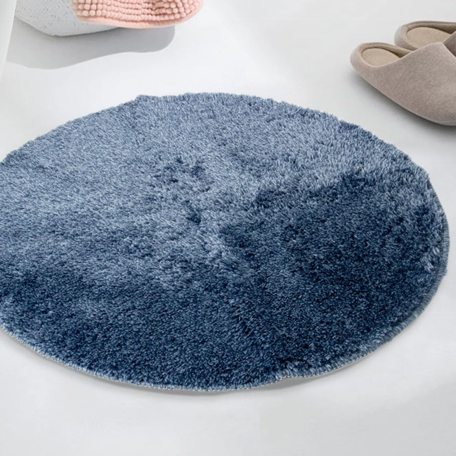 MINISO Solid Color Small Round Floor Mat, Blue
