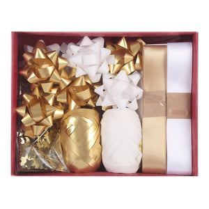 MINISO Christmas Series - Gift Wrapping Accesories, Ribbons and Gift Tags Kraftpaper Box Set B (20 Pcs)