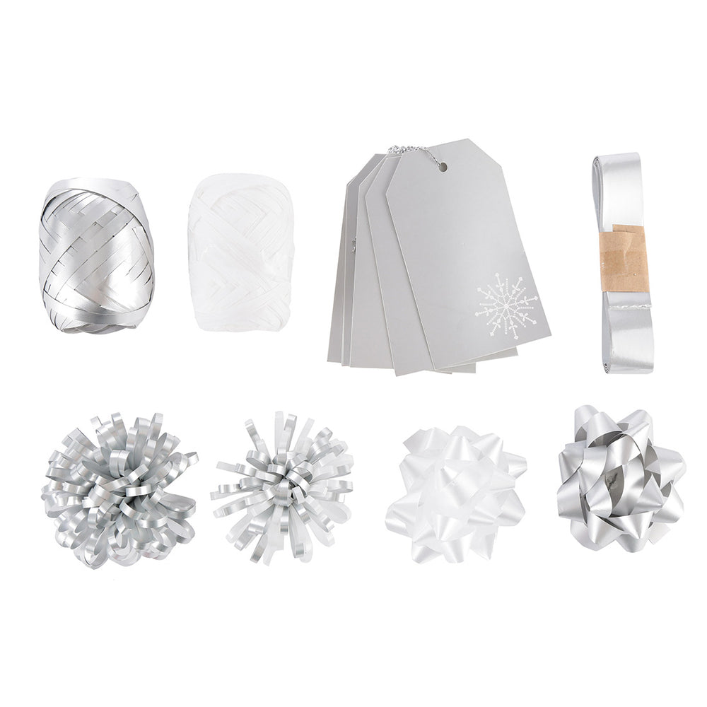 MINISO Christmas Silver Ribbon, Flowers and Card Decoration Set