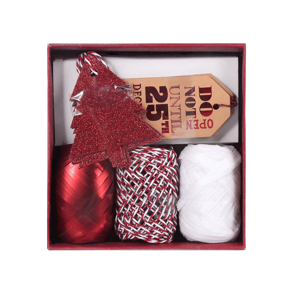 MINISO Christmas Red Ribbon, Trees Card and Card Decoration Set