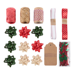 MINISO Christmas Series - Gift Wrapping Accesories, Ribbons and Gift Tags Kraftpaper Box Set A (20 Pcs)