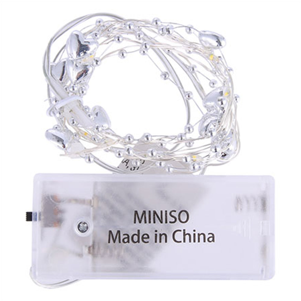 MINISO Hearts String Lights, 3.9 ft LED Battery Powered