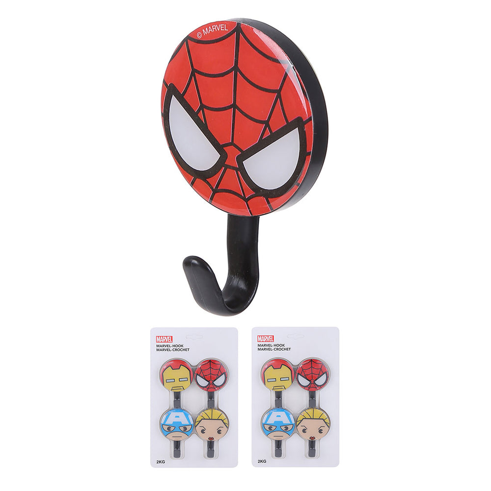 MINISO Marvel Plastic Wall Hanging Stylish Hooks 4 Packs, Door Corcket for House Kitchen