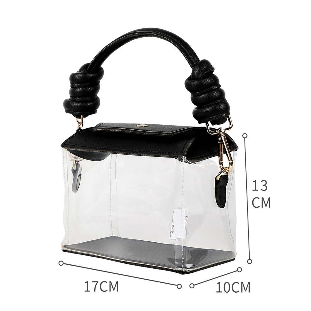 MINISO Square Clear Handbag with Metal Buckle, Black