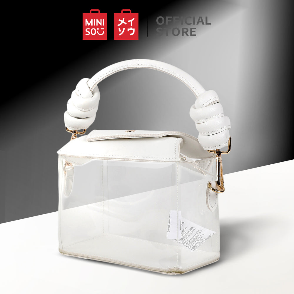 MINISO Square Clear Handbag with Metal Buckle, White