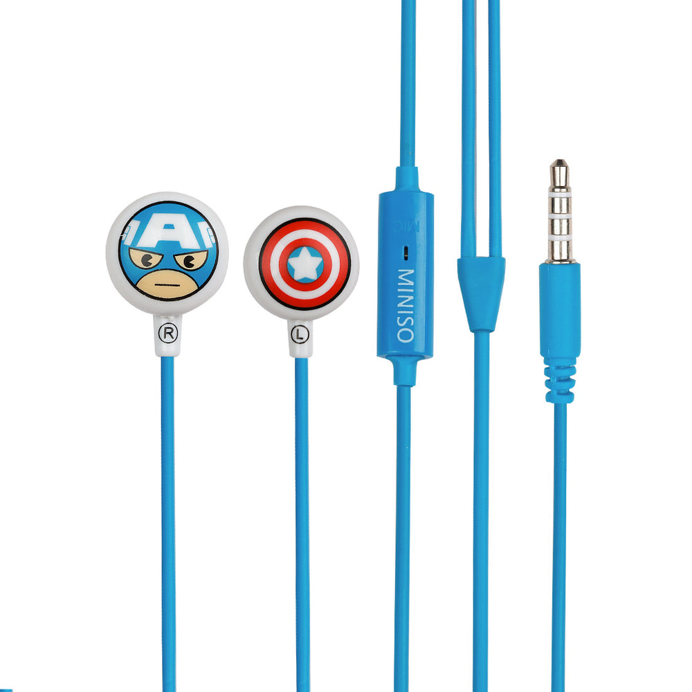 MINISO MARVEL Earphones Comfortable Earbuds Cute Earphone Captain America