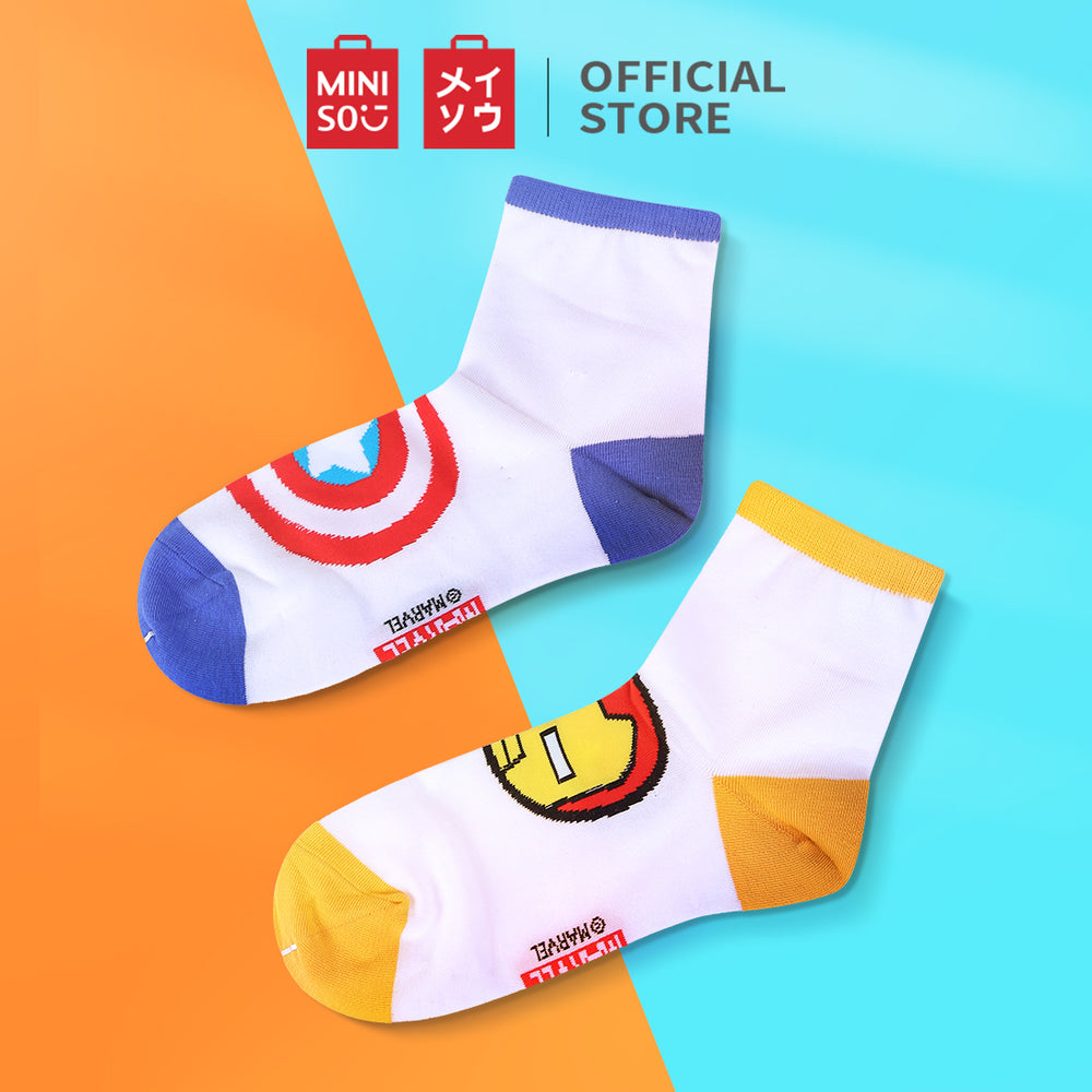 MINISO x Marvel - Womens Cotton Liners Ankle Length Socks - 2 Pack, Random Colour