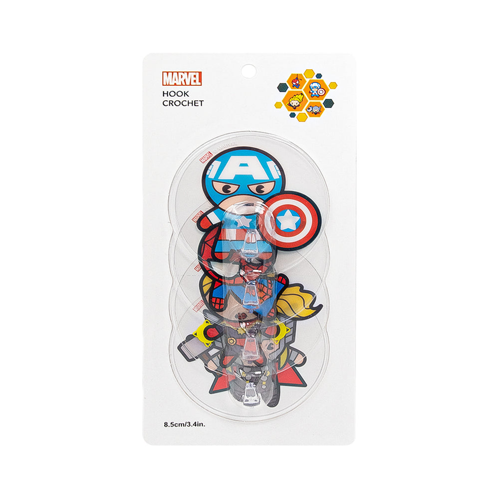 MINISO x Marvel - Cartoon Marvel Characters Transparent Wall Hook Set of 4