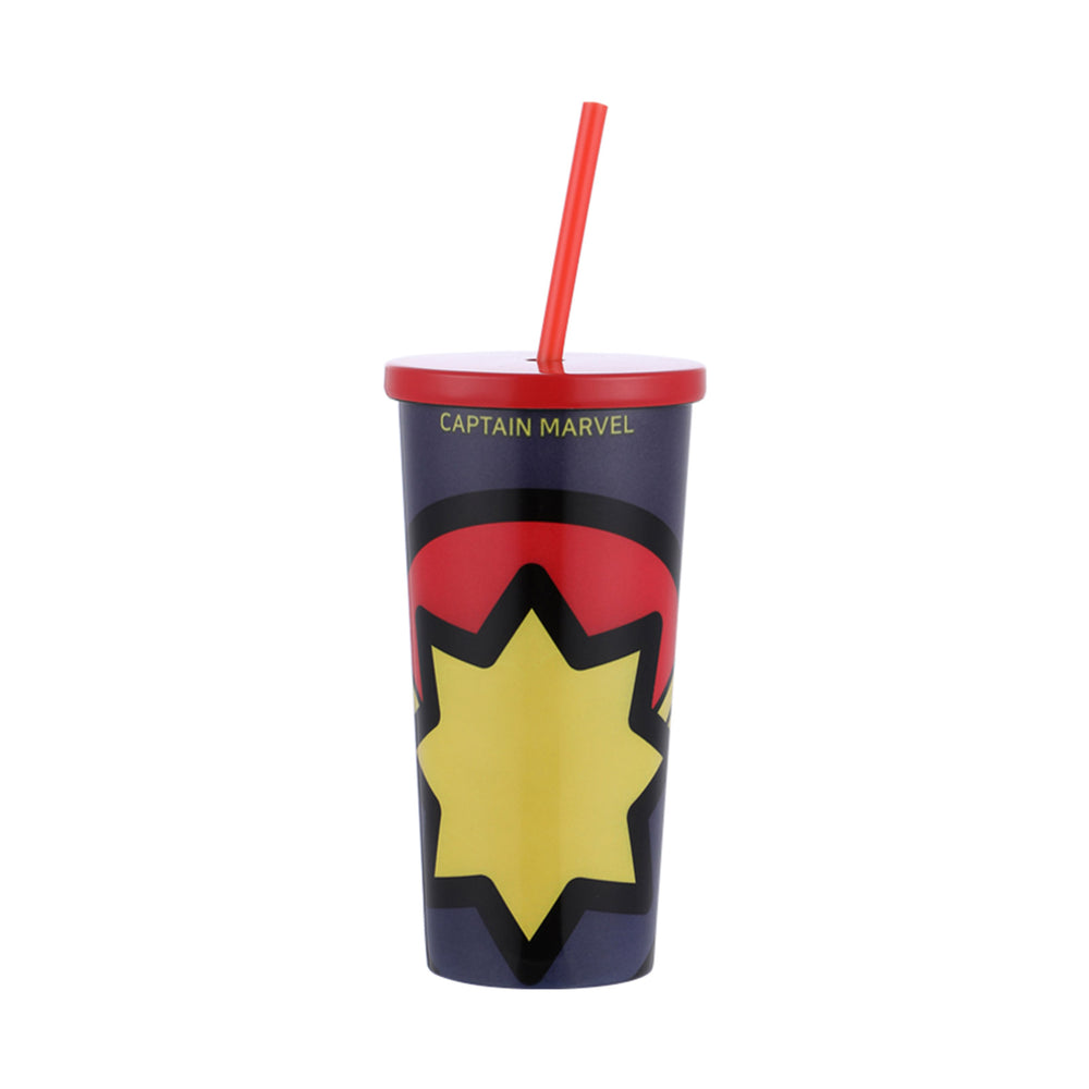 MINISO x Marvel - Stainless Steel Tumbler with Straw, 17oz - Captain Marvel
