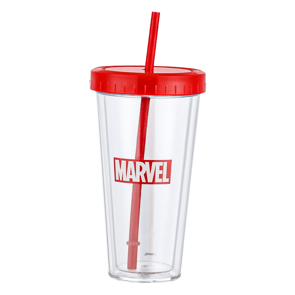 MINISO x MARVEL - Plastic Tumbler Bottle with Straw 420ml