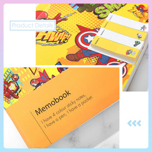 MINISO x Marvel - Cartoon Notebook Memo Book Set with Pen and Sticky Notes
