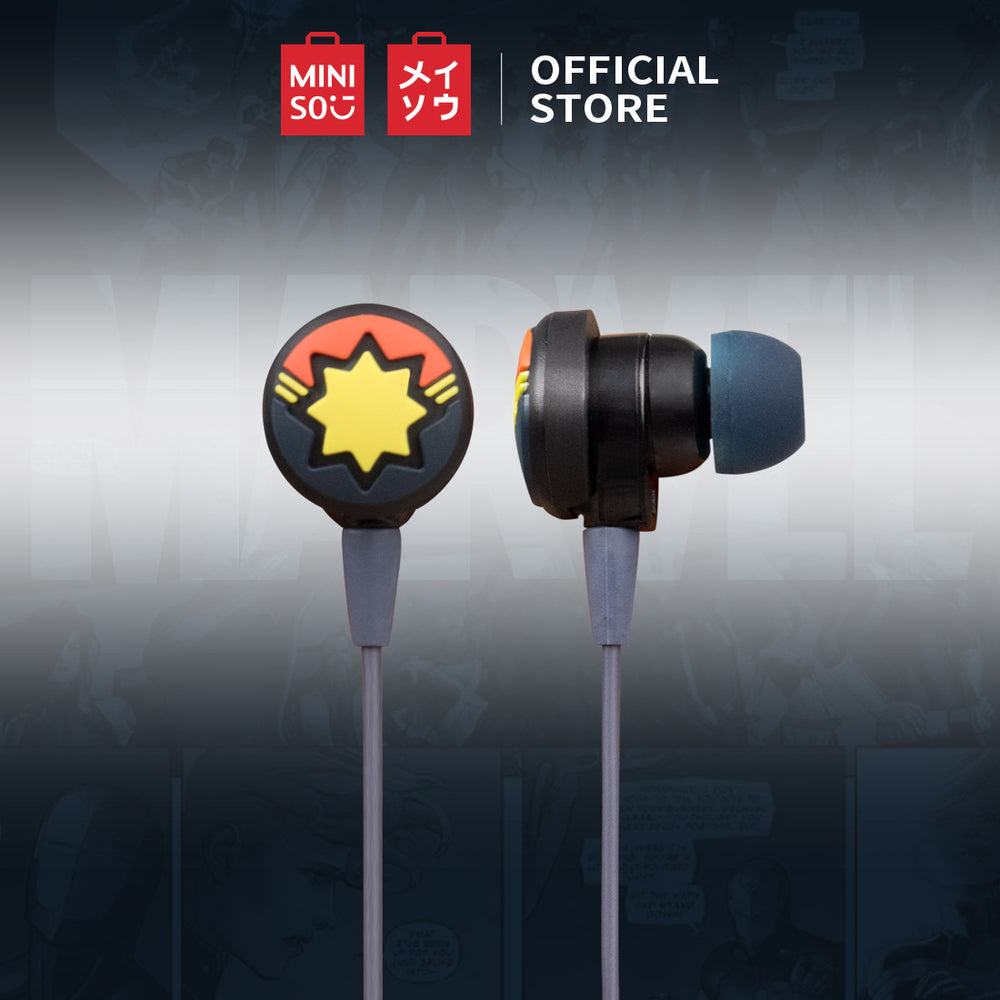 MINISO x Marvel - Cute Cartoon Silicone Earbuds with Mic - Captain Marvel