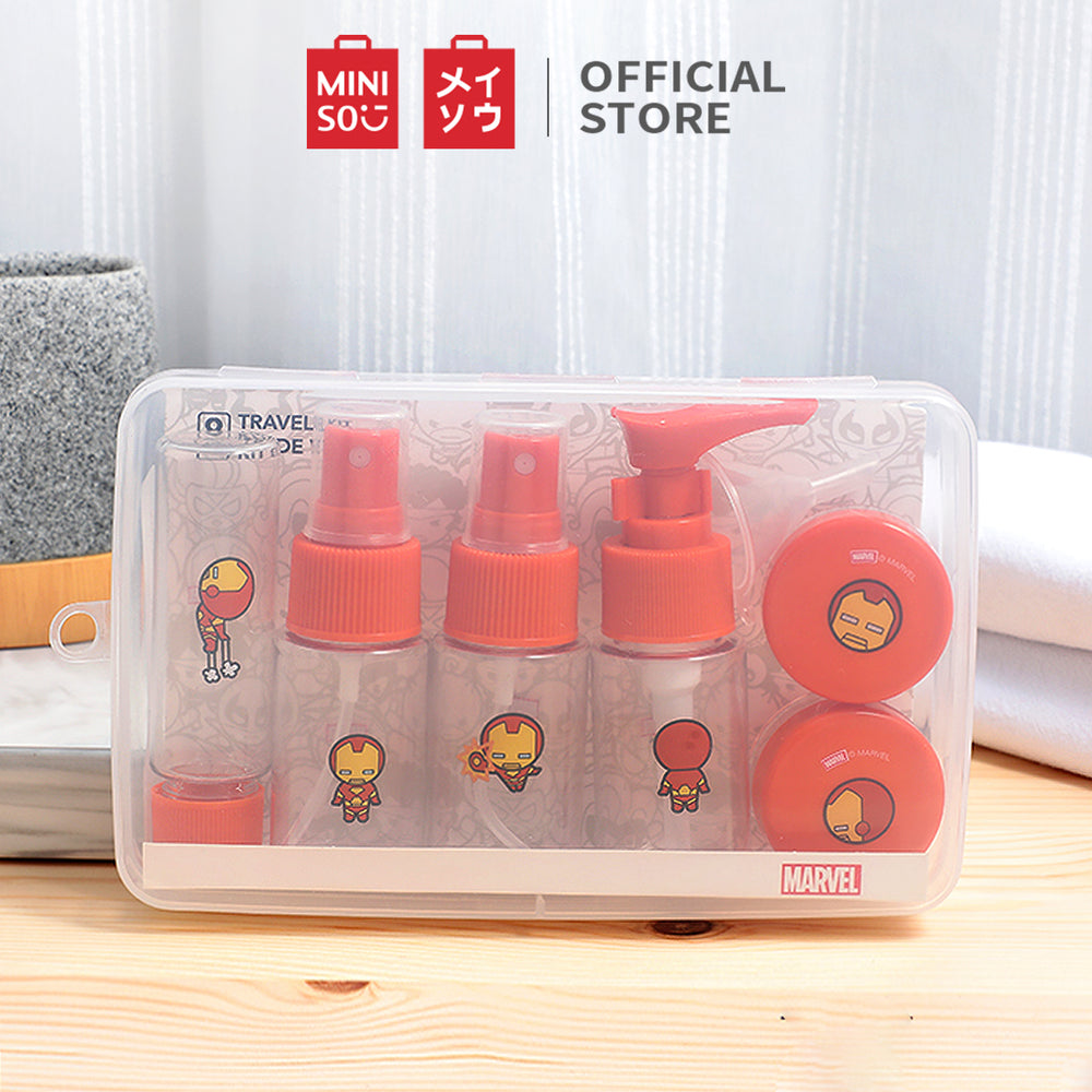 MINISO x Marvel - Plastic Multipurpose Refillable Bottles and Jars Set (8pcs)
