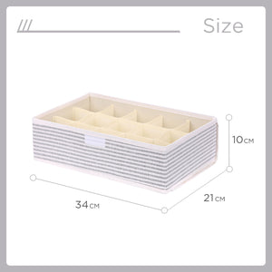 Charger l'image dans la galerie, MINISO Stripe Series - 15 Grid Socks Storage Box with Lid (Grey)