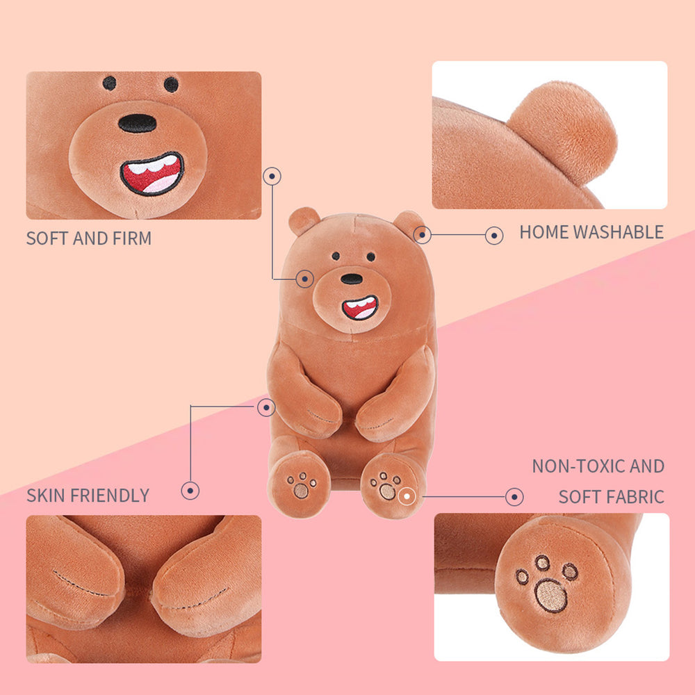 Load image into Gallery viewer, MINISO x We Bare Bears - Lovely Sitting Plushie, Grizz (Brown)