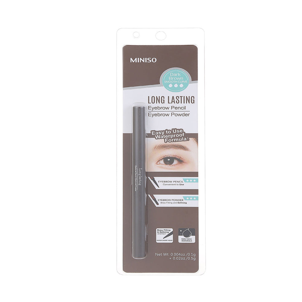 MINISO Long-Lasting Eyebrow Pencil + Eyebrow Powder, Dark Brown