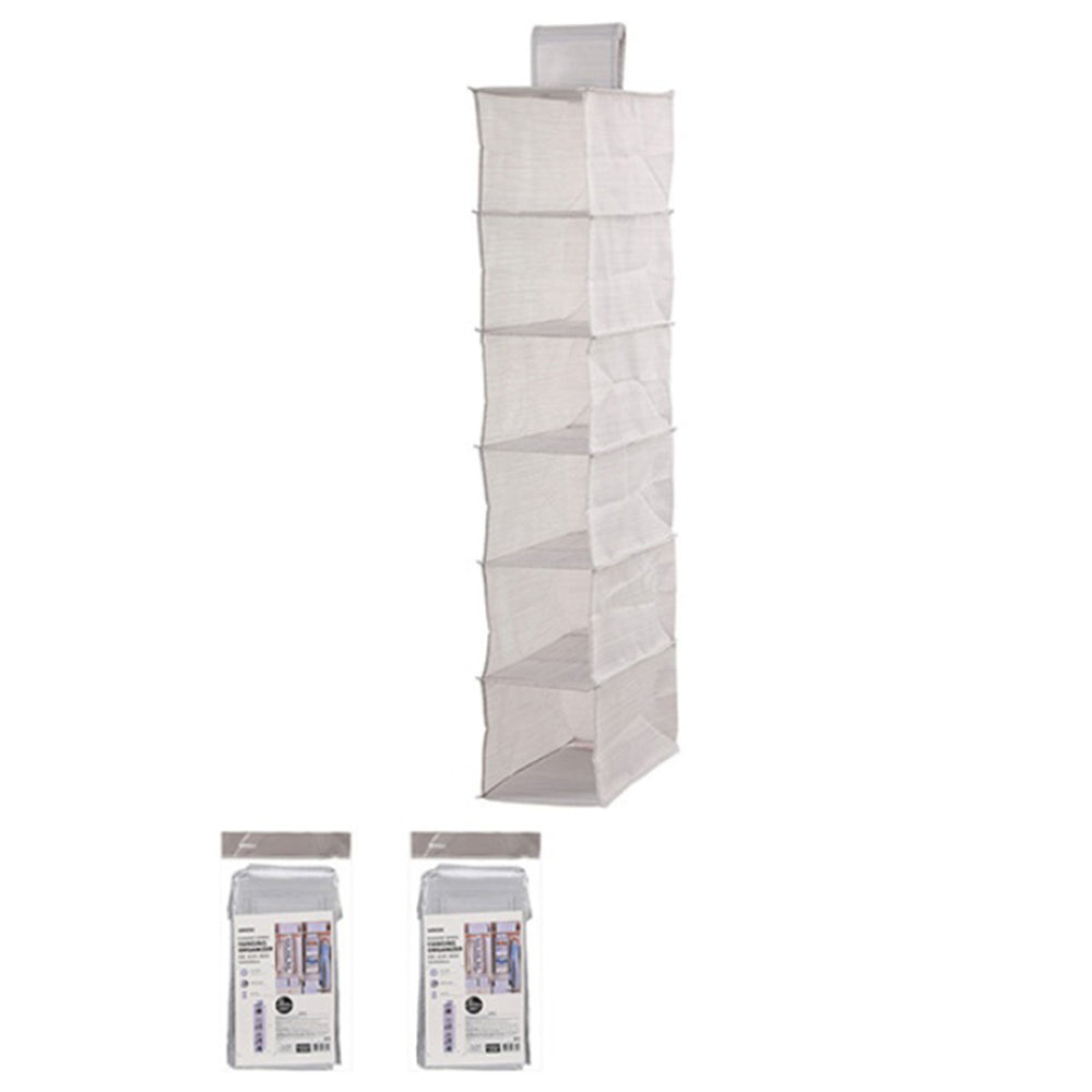 MINISO Terylene Series 6-Shelf Clothes Hanging Storage Foldable Wardrobe/Closet Organizer, Grey