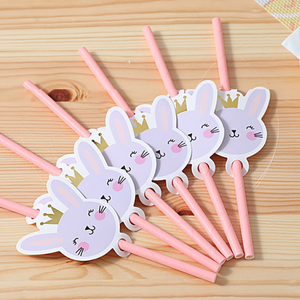 MINISO Cute Rabbit Party Drinking Straw Set