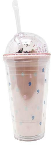MINISO Number Series Double-layered Plastic Glittery Tumbler with Straw 480ml (Random Colour)