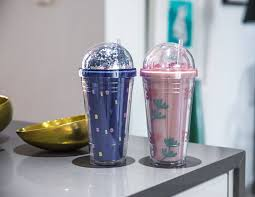 MINISO Floral Series Double-layered Plastic Glittery Tumbler with Straw 480ml (Random Colour)